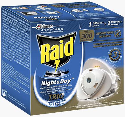 RAID LOT DE 3 Night and Day 2 Recharges électrique anti-moustiques