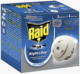 Raid® Night&Day™ Diffuseur Mouches, Moustiques & Tigres